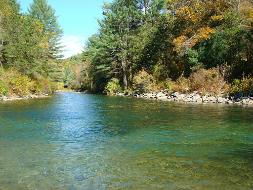 Swift River fly fishing is challenging. But, look at this view!